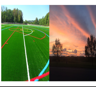 sport field and sunset