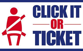 Click it or ticket image of person with strapped seat belt