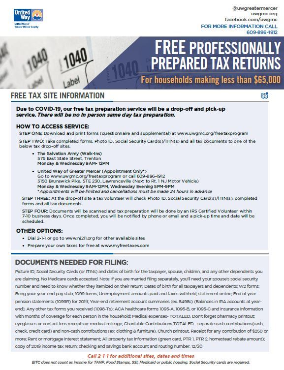 free tax prep information from the United Way